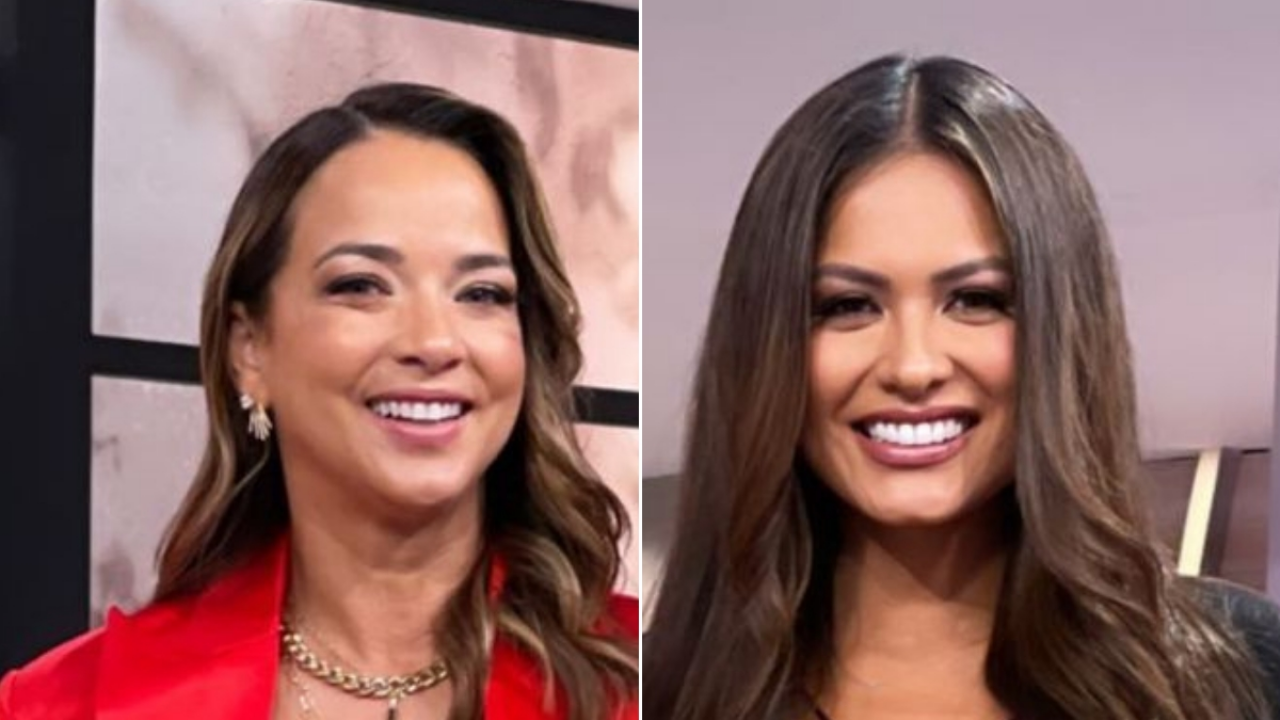 Andrea Mesa, Miss Universe and Adamare Lopez stood together and stole all eyes