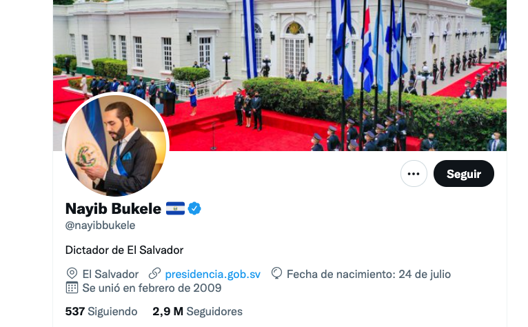 """Bukele changed his Twitter bio back to """"The Coolest Dictator in the World"""""""