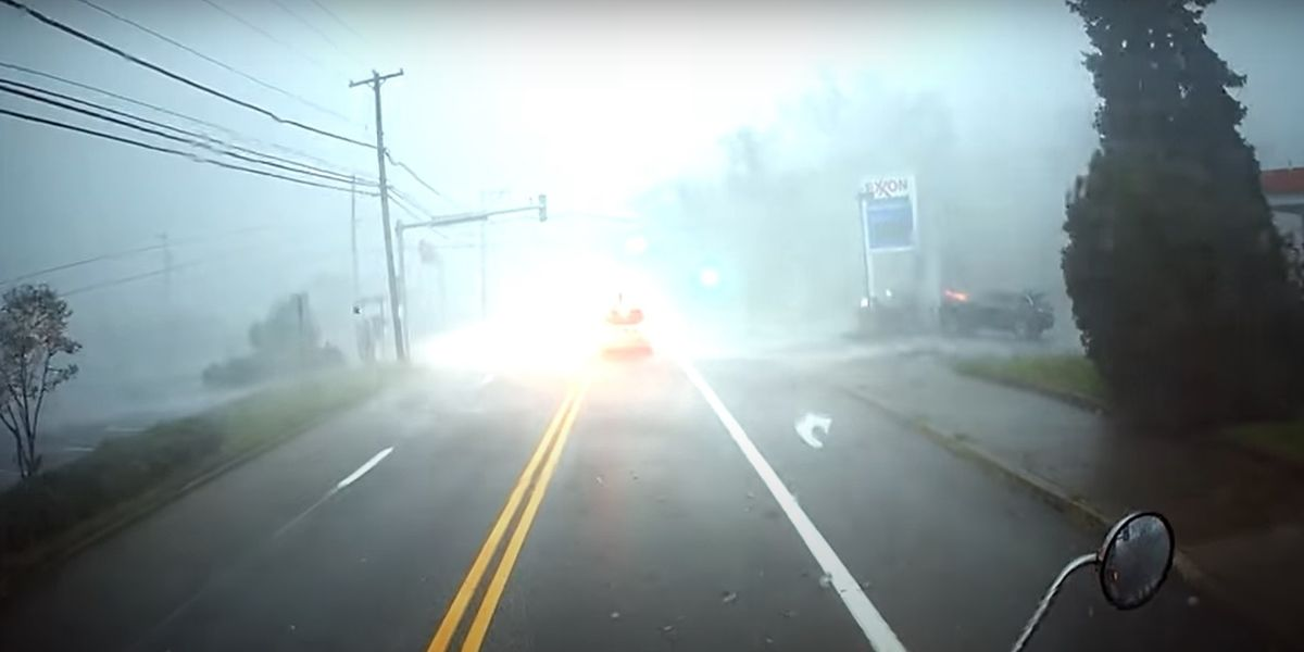 He's driving his truck through a hurricane and this happens