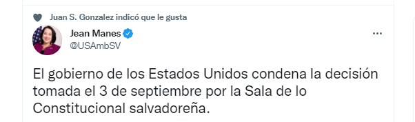 The message posted by the North American official in El Salvador