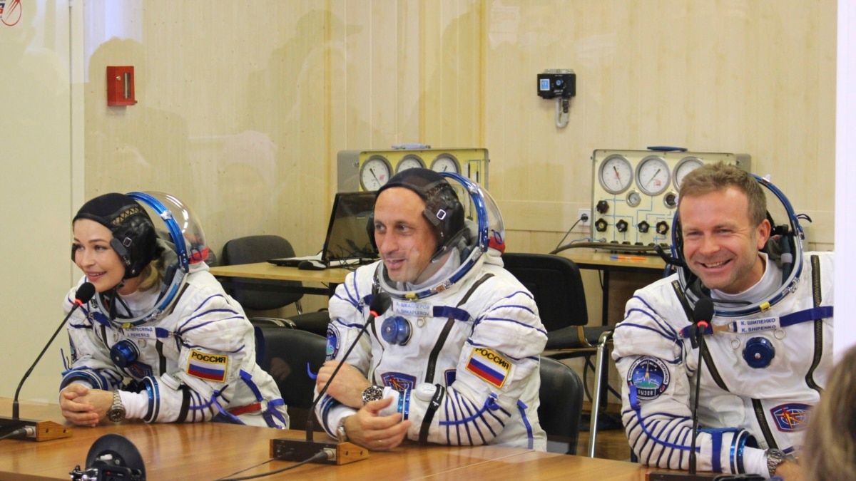 Russian film crew shooting the first movie in space