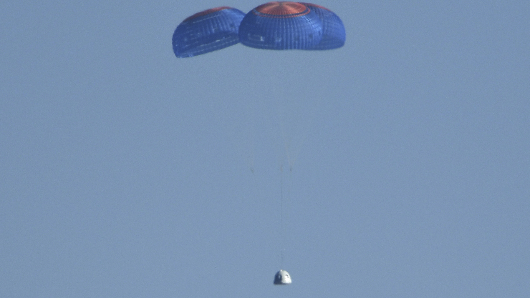 The blue origin ship of Jeff Bezos that carried Captain Kirk into space returns to Earth