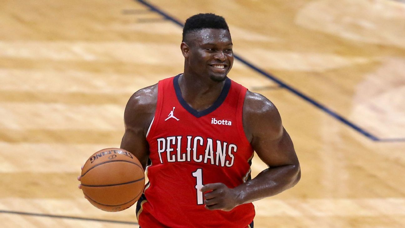 Zion Williamson (standing) to miss start of NBA season, doesn't have 'set timeline' for return to New Orleans Pelicans